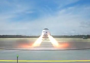 Dragon landing under Draco thrusters