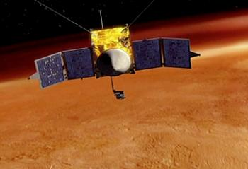 MAVEN in orbit above Mars