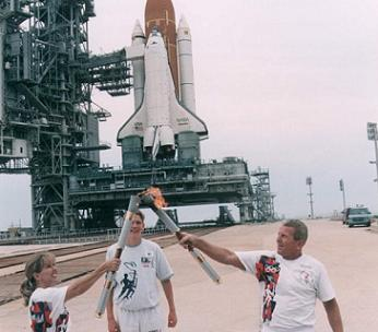 The torch ahead of the STS-79 mission