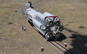 SES-8's Proton M being rolled to the launch site