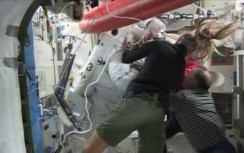 Luca back inside the ISS