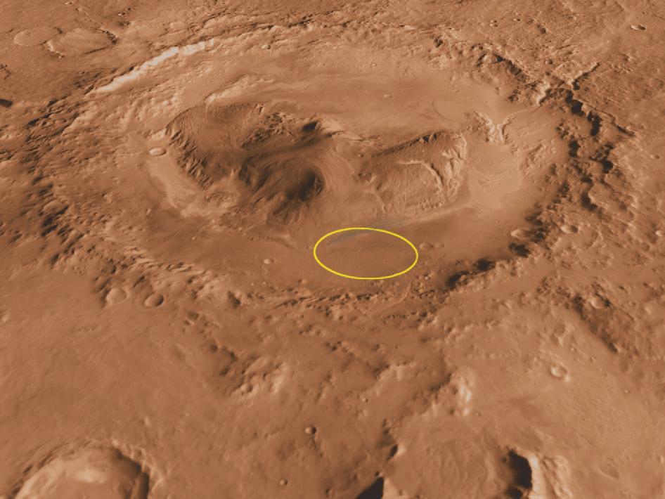 Uma vista oblíqua a partir do sul da Cratera Gale e do Monte Charp — em destaque a área de pouso do rover Curiosity. Crédito: NASA.