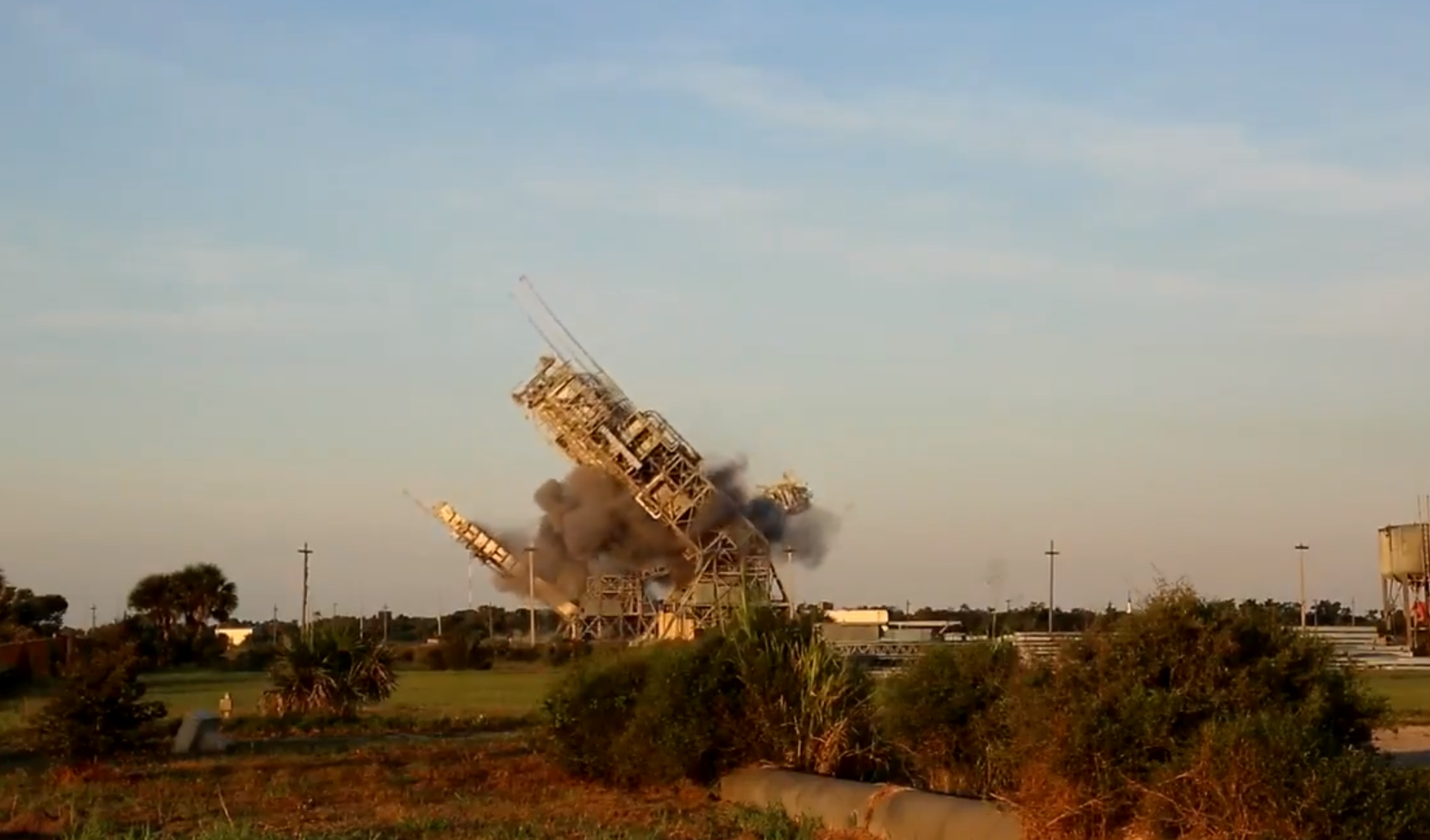 Demolition of twin towers at Cape Canaveral's historic Launch Complex 17
