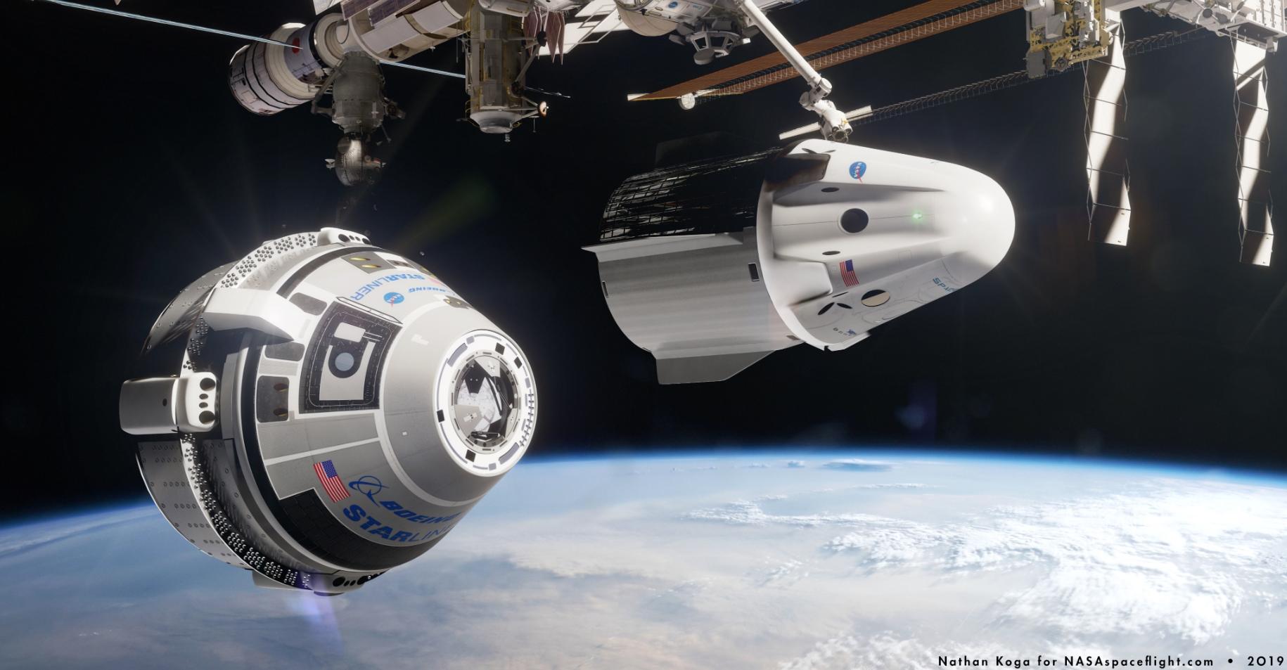 Starliner and Dragon 2 – via Nathan Koga for NSF  L2
