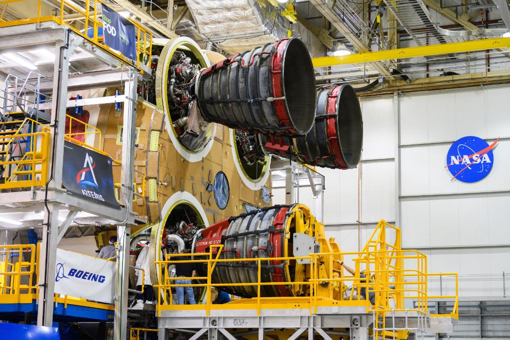 All four RS-25 Shuttle veterans installed into SLS Core Stage