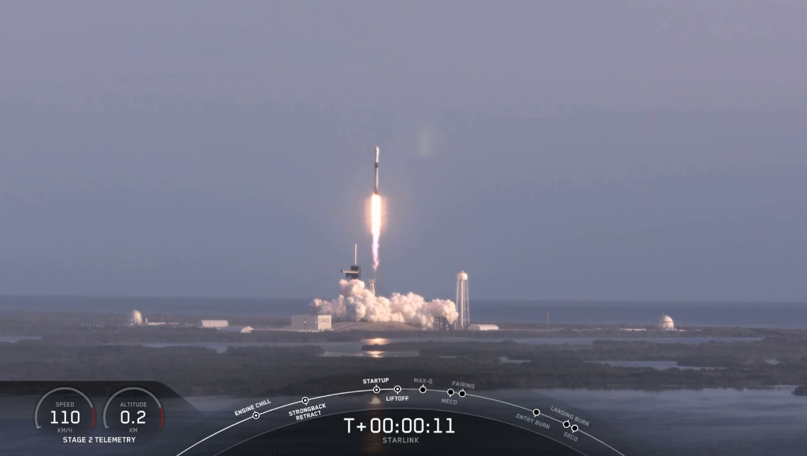 SpaceX successfully launches sixth Starlink launch despite engine issue