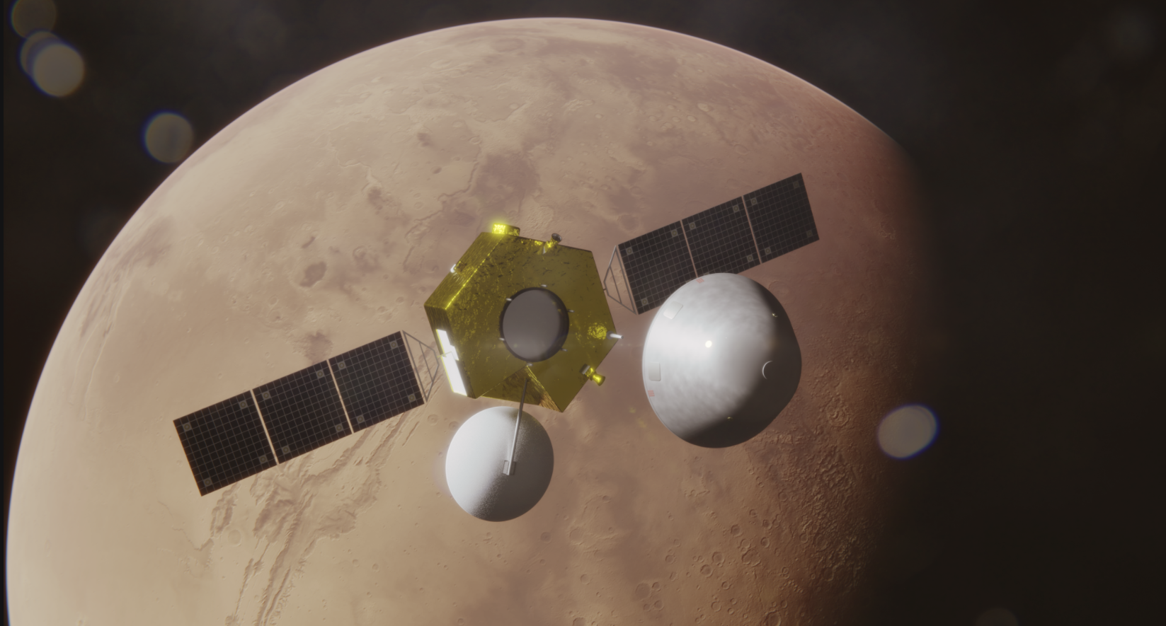 The Lander and Orbiter separate in Martian orbit ahead of the planned April 2021 landing