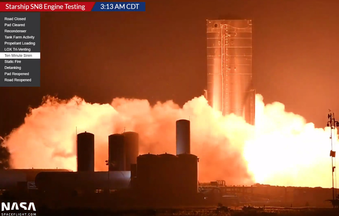 Starship SN8 conducts milestone Static Fire test ahead of nosecone install